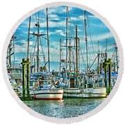 Two Fishing Boats Hdr Round Beach Towel