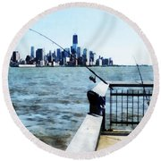 Two Fishing Poles Round Beach Towel