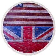 Two Flags American And British Round Beach Towel