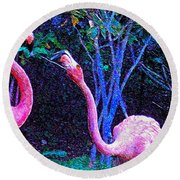 Two Flamingos Round Beach Towel