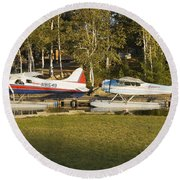 Two Float Planes On Moosehead Lake Near Greenville Maine  Round Beach Towel