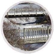 Two Foot Bridges Round Beach Towel