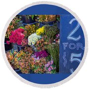 Two For Five Dollars Round Beach Towel