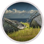Two Forlorn Abandoned Boats On Prince Edward Island Round Beach Towel