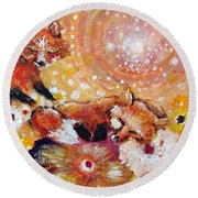 Two Foxes You Have A Friend In Me Round Beach Towel