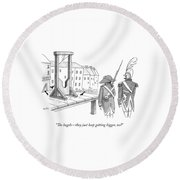 Two French Soldiers Look At A Guillotine Round Beach Towel by Julia Suits