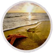 Two Friends On The Beach Round Beach Towel