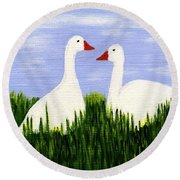 Two Geese Round Beach Towel