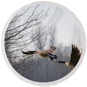 Two Geese In Flight Round Beach Towel