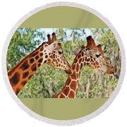 Two Giraffes Round Beach Towel