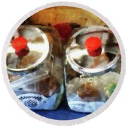Two Glass Cookie Jars Round Beach Towel
