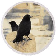 Two Graveyard Blackbirds Round Beach Towel