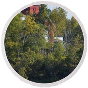 Two Harbors Mn Lighthouse 19 Round Beach Towel