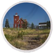 Two Harbors Mn Lighthouse 21 Round Beach Towel