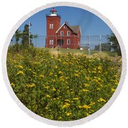 Two Harbors Mn Lighthouse 22 Round Beach Towel