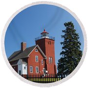 Two Harbors Mn Lighthouse 24 Round Beach Towel