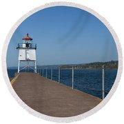 Two Harbors Mn Pier Light 13 Round Beach Towel
