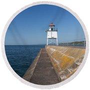 Two Harbors Mn Pier Light 8 Round Beach Towel