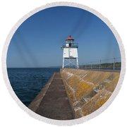 Two Harbors Mn Pier Light 9 Round Beach Towel