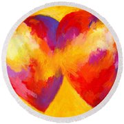 Two Hearts Beat As One Round Beach Towel