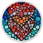 Two Hearts - Mosaic Art By Sharon Cummings Round Beach Towel