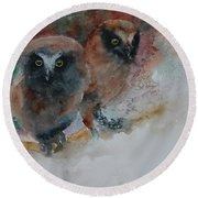 Two Hoots Round Beach Towel