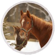Two Horses In Winter Day Round Beach Towel