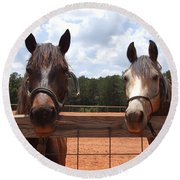 Two Horses Round Beach Towel