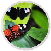 Two In The Leaves Round Beach Towel