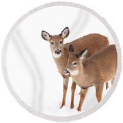 Two In The Snow Round Beach Towel