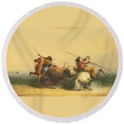 Two Indians Killing A Buffalo Round Beach Towel