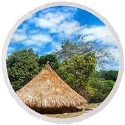 Two Indigenous Huts Round Beach Towel