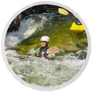 Two Kayakers On A Fast River Round Beach Towel