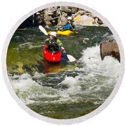 Two Kayakers On A Whitewater Course Round Beach Towel