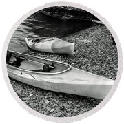 Two Kayaks On Seneca Lake Round Beach Towel