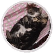 Two Kittens Sleeping Round Beach Towel