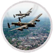 Two Lancasters Over High Wycombe Round Beach Towel