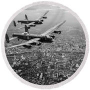 Two Lancasters Over London Black And White Version Round Beach Towel
