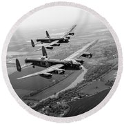 Two Lancasters Over The Upper Thames Black And White Version Round Beach Towel
