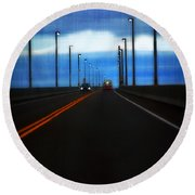 Two-lane Blacktop Round Beach Towel