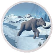 Two Large Mammoths Walking Slowly Round Beach Towel by Elena Duvernay