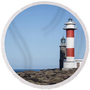 Two Light Houses Round Beach Towel