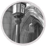Two Lights And A Church Round Beach Towel