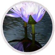 Two Lilies And A Heart Round Beach Towel
