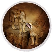 Two Lions Round Beach Towel