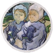Two Little Girls Round Beach Towel by Vincent Van Gogh