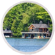 Two Luxury Boathouses Round Beach Towel