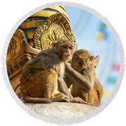 Two Macaques On Top Of Chorten Round Beach Towel
