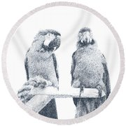 Two Macaws Round Beach Towel