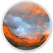 Sinopah Mountain And Two Medicine Lake Sunrise Glacier National Park Montana Round Beach Towel